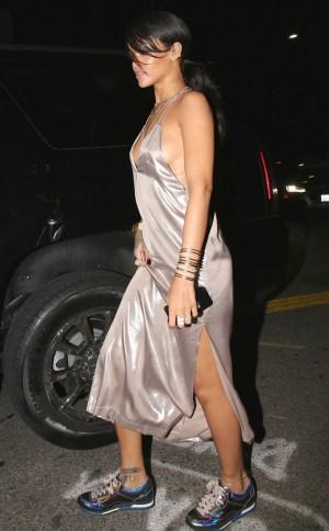 Hot Mess Alert!: Rihanna Rocks Bed Sheet And Sneakers | PHOTO